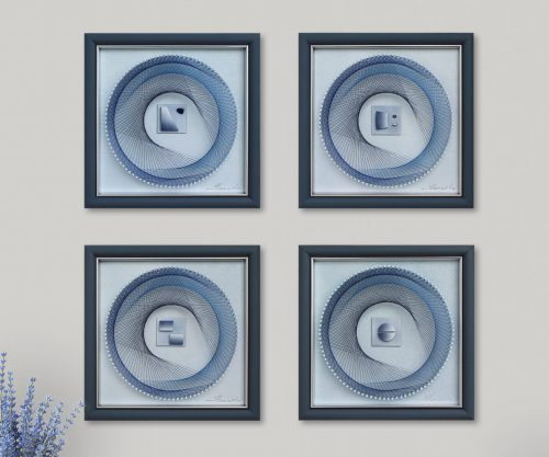 This is a refreshing Art Set in Soft Blue for your entry room, staircare, beed- or livingroom.