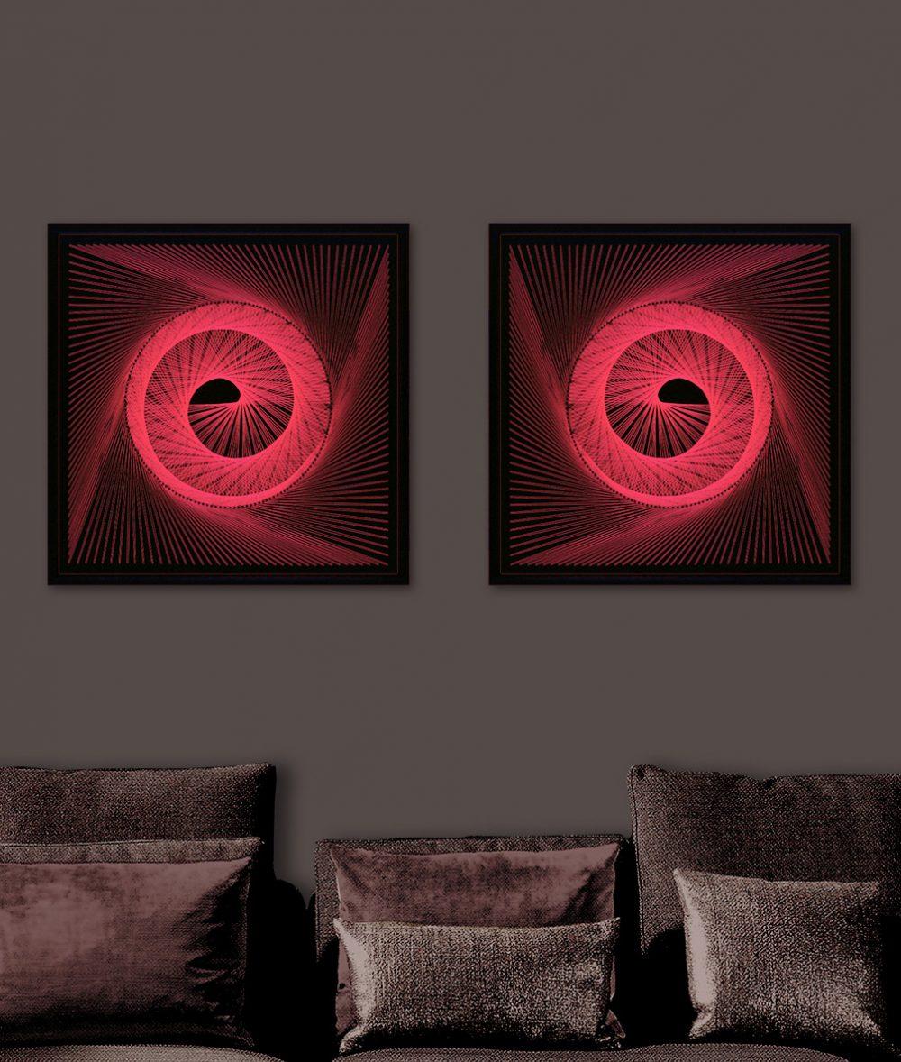 UV Wall Art Red Spiral