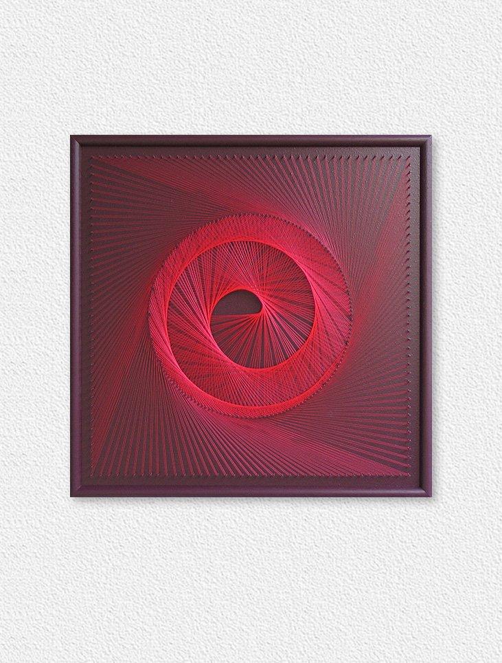 Neon String Art Spiral Red