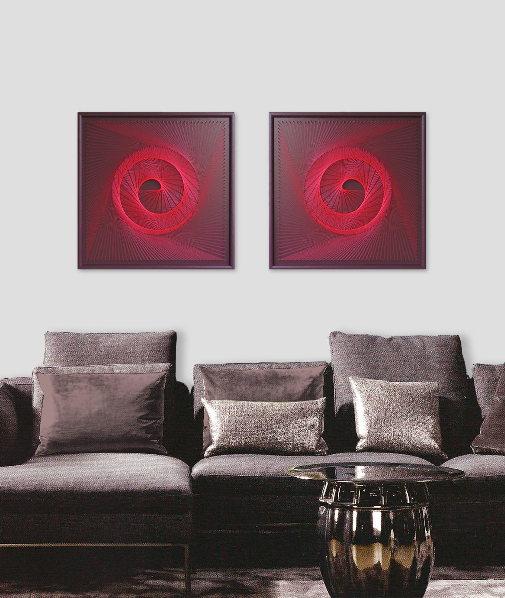 Zen String Art Red Spiral