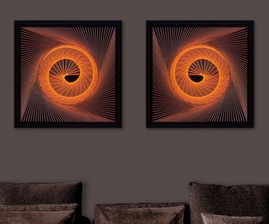 Neon Wall Art Orange Spiral